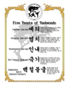 The Five Tenets of Taekwondo -- our Bonsais program for tots